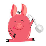 Cooking pig illustration. isolated character Stock Photography
