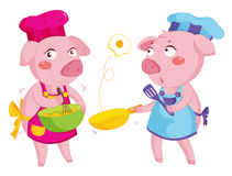 Cooking pigs. Illustration of 2 pigs cooking Stock Photo