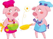 Cooking pigs. Illustration of 2 pigs cooking Royalty Free Stock Image