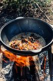 Cooking pilaf in a large boiler with a strong flow on an open fire outdoors on a Sunny summer day . Close up. stock images