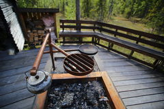 Cooking pit at resting place in Vackermyren, the beautiful mire, in Sweden Stock Photo