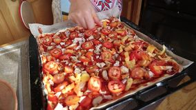 Pizza with meat at home stock video footage