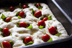 Cooking pizza. Italian focaccia dough in the baking tray. with c Royalty Free Stock Photo