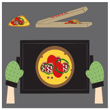 Cooking pizza. Сooking pizza with sausage. 10 EPS Stock Images