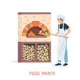 Cooking pizza vector illustration. Stock Images