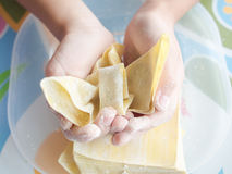 Cooking and plying Royalty Free Stock Photography