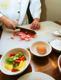 Cooking pork slices Stock Photo