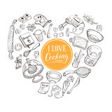 Cooking poster. I love cooking poster concept.  Baking tools in heart shape. Poster with hand drawn kitchen utensils Royalty Free Stock Photos