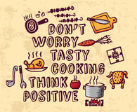 Cooking poster positive thing greeting and objects Royalty Free Stock Photo