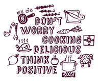 Cooking poster positive think and objects ink Stock Image