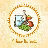 Cooking poster sketch Stock Photos