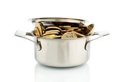 Cooking pot with coins. A cooking pot is filled with euro coins, symbolic photo for funding Stock Images