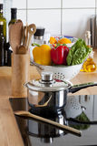 Cooking Pot and Cooking Spoon on Ceramic Hob Royalty Free Stock Photo