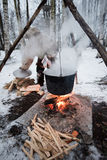 Cooking in a pot on the fire Royalty Free Stock Photography