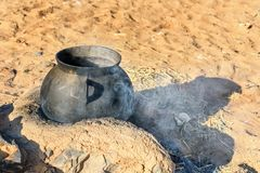 Cooking pot in the village Merzouga, Morocco Royalty Free Stock Photos