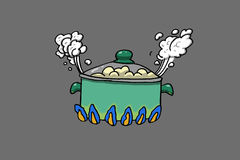 Cooking pot. Food boiling, illustration Royalty Free Stock Photo