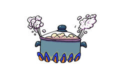 Cooking pot. Food boiling, white background illustration Royalty Free Stock Images