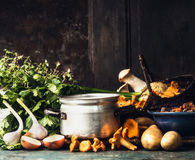 Cooking pot, forest mushrooms and cooking ingredients for soup or stew on dark rustic kitchen table at wooden background, side vie Royalty Free Stock Photos