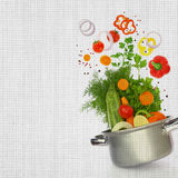 Cooking pot with fresh vegetables Stock Image