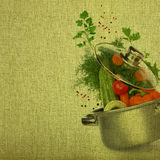 Cooking pot with fresh vegetables Royalty Free Stock Image