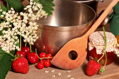 Cooking pot with fruits and jam Royalty Free Stock Images