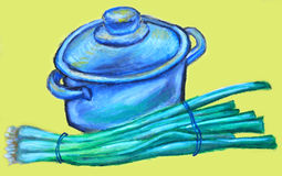Cooking Pot and Green Onions. A textured oil pastel drawing of a cooking pot and green onions all isolated on a yellow background Stock Images