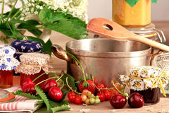Cooking pot with homemade jam Stock Image