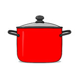 Cooking pot illustration. Red cooking pot illustration; Cookware Royalty Free Stock Photos