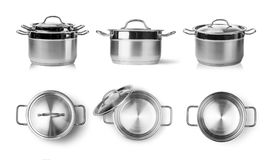 Cooking pot. Open stainless steel cooking pot isolated on white stock photography