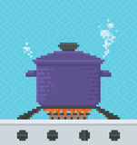 Cooking Pot Pixel Art Illustration. Food is Cooked in a Pot on a Gas Stove - Vector Illustration in Pixel Art Classical Technique Royalty Free Stock Images