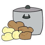 Cooking pot with potatoes. Stock Photography