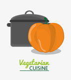 Cooking pot and pumpkin vegetable vegetarian cuisine Royalty Free Stock Photo