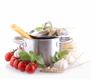 Cooking pot with spaghetti Royalty Free Stock Photos
