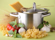 Cooking pot, spaghetti and ingredient Royalty Free Stock Images