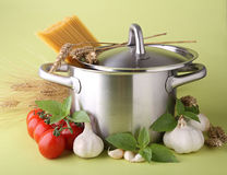 Cooking pot, spaghetti and ingredient Stock Image