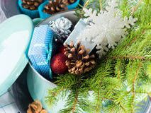 Cooking pot with spruce branches, gifts and christmas decoration Stock Photos
