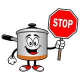 Cooking Pot with a Stop Sign Stock Image