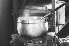 Cooking in a pot on the stove. Stock Image