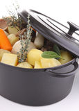 Cooking pot and vegetables Royalty Free Stock Photos