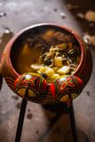 Cooking potatoes on the fire Royalty Free Stock Photo
