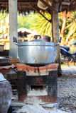 Cooking pots boiling on the fire burning stove. Royalty Free Stock Photos