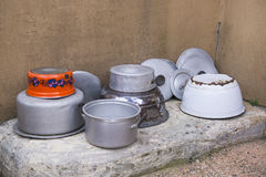 Cooking pots and lids Royalty Free Stock Photo