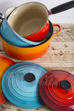 Cooking pots pans and lids Stock Photo