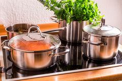 Cooking pots on the stove Royalty Free Stock Image