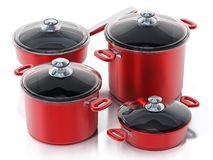 Cooking pots in various size isolated on white background. 3D illustration.  stock illustration