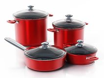 Cooking pots in various size isolated on white background. 3D illustration.  royalty free illustration