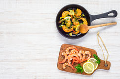 Cooking Prawn and Copy Space Text Area Royalty Free Stock Photo