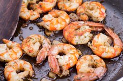 Cooking with prawns Stock Photos