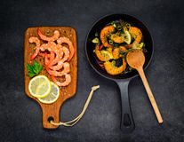 Cooking Prawns in Top View Royalty Free Stock Photo