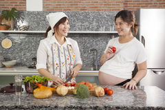 Cooking for pregnant Royalty Free Stock Photography